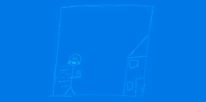 Hand drawn Picture of Simon running home with his phone in his hand.