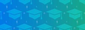 fading background left to right of blue to green with faded stars and images of mortarboards pattern