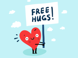 An illustration of a heart with a smiling face holding a sign with the words FREE HUGS on it
