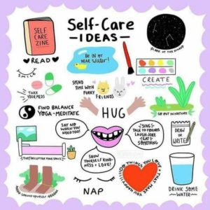 Illustration showing various self-care ideas