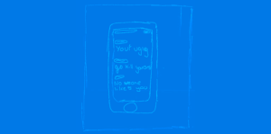 hand drawn Picture of Simon's phone with insulting and rude messages on it.