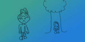 Picture of Leah looking lonely, sitting by a tree on her own and Romi looking sad
