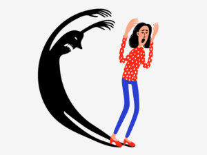 An illustration of a young woman looking scared with a frightening shadow behind her