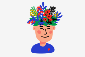 An illustration of a young man with plants and flowers growing out of the top of his head