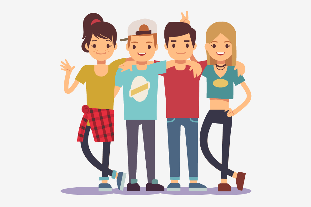 An illustration of four young people with their arms around each other's shoulders