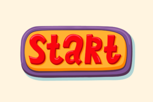 An illustration of a button with the word START on it