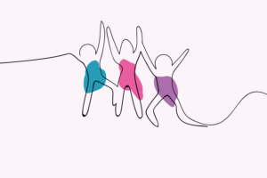 Illustration of the outlines of three people jumping, with their arms linked
