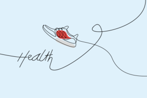 Line drawing of a trainer and the word health on a blue background