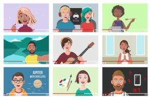An collage of illustrations depicting various young adults blogging about different activities from make-up tutorials & cooking lessons to guitar classes and painting tips