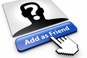 A computer cursor hovering over an 'add as friend' button on a social media website