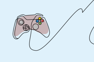 Xbox controller illustration on pale blue background