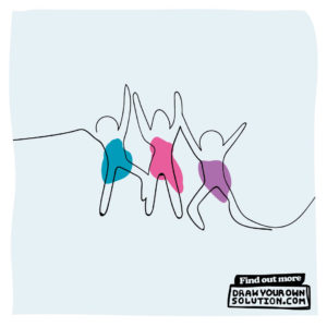 A line drawing of three people joined by their hands who look as though they are dancing, with draw your own solution written in the corner.