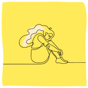 line illustration of girl sitting hugging her knees into chest