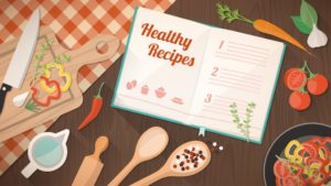 A graphic of an open recipe book with kitchen utensils and food ingredients surrounding it.