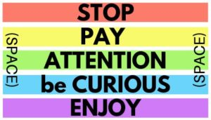 rainbow stripes with the words 'STOP' 'PAY ATTENTION' 'be CURIOUS' and 'ENJOY' written across them