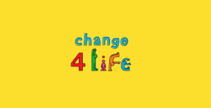 Change4life logo.Yellow background with multi coloured words which say the word change the number 4 and the word life