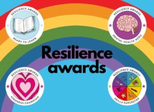 Rainbow with resielience awards badges around edge